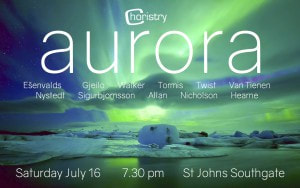 Image of the poster for Choristry Choir Melbourne's 'Aurora' concert