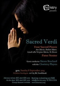 Image of the poster for Choristry Choir Melbourne's 'Sacred Verdi' concert